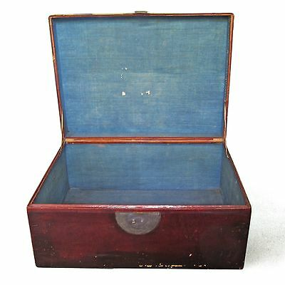 Stunning Antique Chinese Leather Trunk 87x64x40cm Storage Box