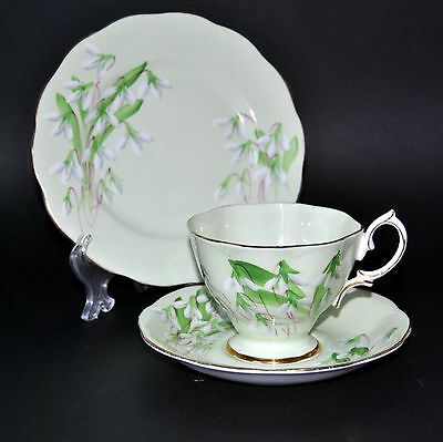 """Royal Albert Green """"Laurentian Snowdrop""""  English China Cup/Saucer/Side Plate"""