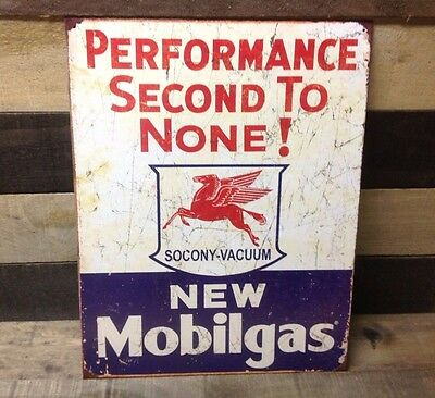 MOBILGAS SOCONY Second to None Sign Tin Vintage Garage Bar Decor Old Rustic