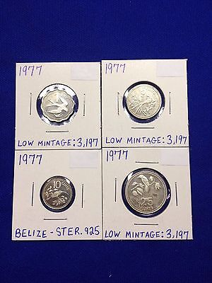 Set Of Four Sterling Silver 1977 Belize Coins - 16.76 Grams Ster -Low Mintage