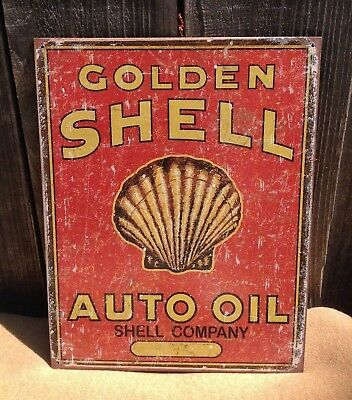 GOLDEN SHELL MOTOR OIL Auto Sign Tin Vintage Garage Bar Decor Old Rustic