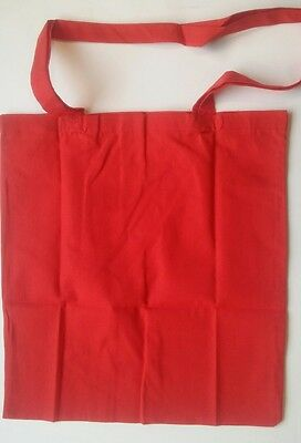 Plain RED tote shopping bag 100% Cotton CRAFT Decorate Personalise Emellish NEW