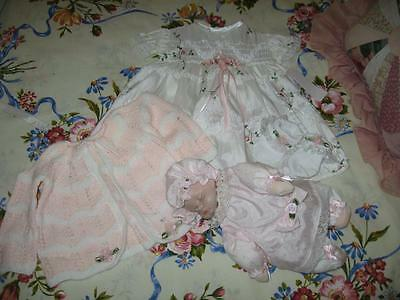 New Old Shop Stock Lace Baby/Reborn Dress, Matinee Jacket, Socks & Doll