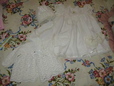 Vintage Hand Made Baby/Antique Doll Dress, Bonnet, Booties & Matinee Jacket