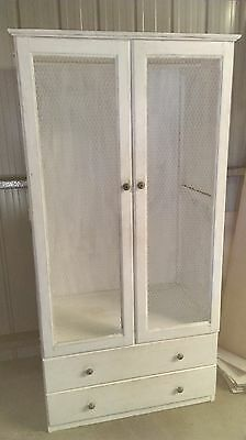 Vintage Wardrobe with Wired Doors