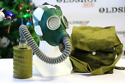 WW2 Soviet Russian Gas Mask GP-4 with filter, bag Green Rubber NEW authentic