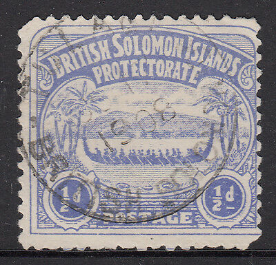 BR. SOLOMON IS.   1907  'Canoe'  ½d ultra   SG 1   gu ~ CV $18