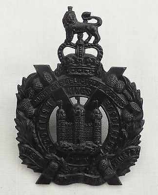 A (Blackened) King's Own Scottish Borderers Glengarry Badge. QE11 Crown.