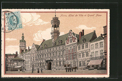 formidable CPA Mons, hôtel de ville et Grand´Place 1923