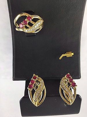 Sterling 925 Silver Handmade Turkish Jewelry Red Ruby Full Set