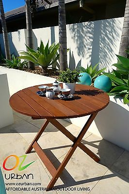 NEW Round Table Meranti Timber Outdoor Patio Garden Furniture with Umbrella Hole