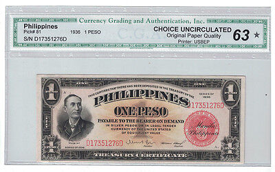 Philippines - 1936 1 Peso Banknote (P-81) - Nice!