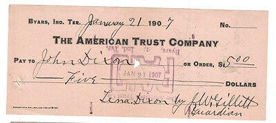 U.S. (Byers, Indian Territory) - January 21, 1907 $5.00 Check