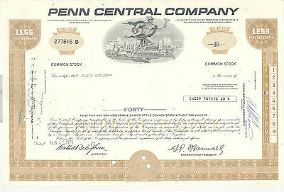 Penn Central Company Aktie Stock Certificate 40 Shares 1973 Mit Anhang