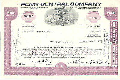 Penn Central Company Aktie Stock Certificate 1000 Shares 1970