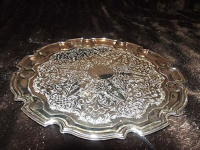 vintage decrative silver plated round engraved tray