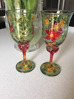 Jo Wood Hand painted Decorative Wine Glasses