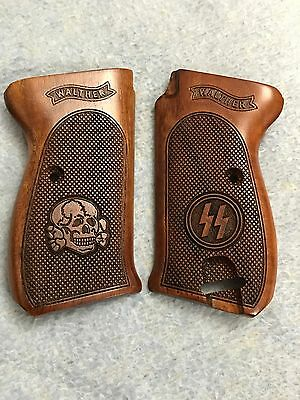 Walther P 38 -Grips-Grip-Set-Walnut Wood -Checkered Factory Set