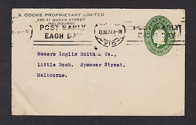 AUSTRALIA PTPO KGV 1d GREEN OVAL S. COOKE PROPRIETARY USED 1929