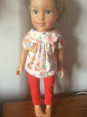 DOLLS CLOTHES.Handmade Afternoon Tea red Leggings For Design A Friend Doll/Cayla