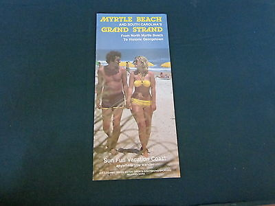 1980s travel brochure tri-fold flyer MYRTLE BEACH GRAND STRAND South Carolina