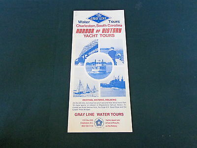 1976 travel brochure tri-fold flyer GRAY LINE Water Yacht Tours Charleston SC