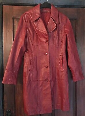 Vintage Wilsons Leather Red Burgundy Trench Coat Jacket 10