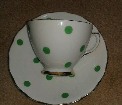 Royal vale polka dot green cup & saucer