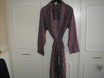 Vintage Tootal Regency Paisley Belted Smoking Dressing Robe Gown Uk Xl Retro