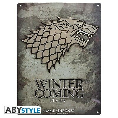 GAME OF THRONES plaque metal STARK WINTERFELL neuf !