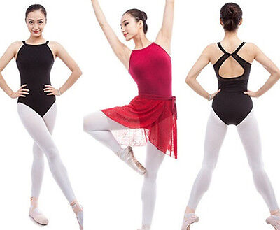 Black/Red Womens Ladies Ballet Dance Leotard Practice Yoga Fit Camisole Backless