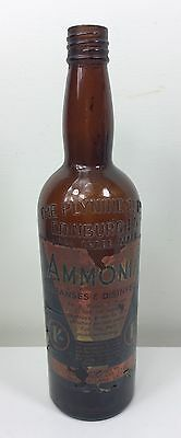 Vintage Brown Plynine Co Ltd Edinburgh Glass Bottle - Cool Ammonia Label