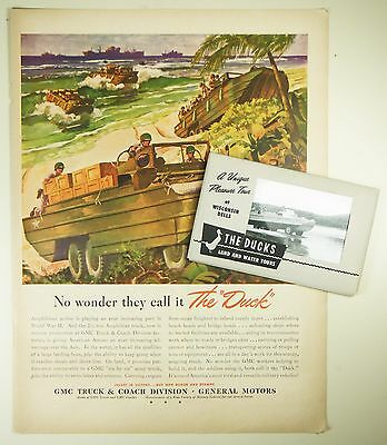 """Vintage 1943 GENERAL MOTORS Magazine Print Ad: WWII """"The Duck"""" + Postcard Pack"""