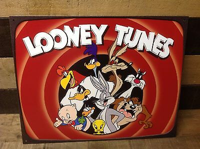 LOONEY TUNES Thats all folks Sign Tin Vintage Garage Bar Decor Old Rustic