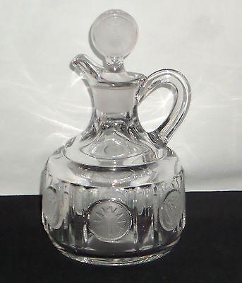 """Fostoria COIN FROSTED CRYSTAL *5"""" CRUET w/STOPPER*"""