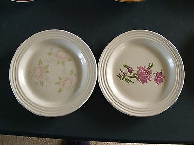 2 Purbeck Pottery  Small Plates With Flower Designs
