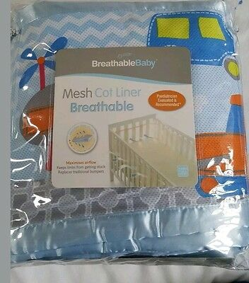 Breathable baby, Mesh cot liner (cot bumper). Vehicle theme
