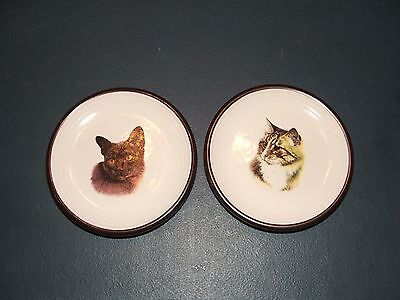 2 Purbeck Pottery  Pin Dishes With Cat Design