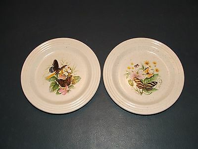 2 Purbeck Pottery  Small Plates With Butterfly Designs