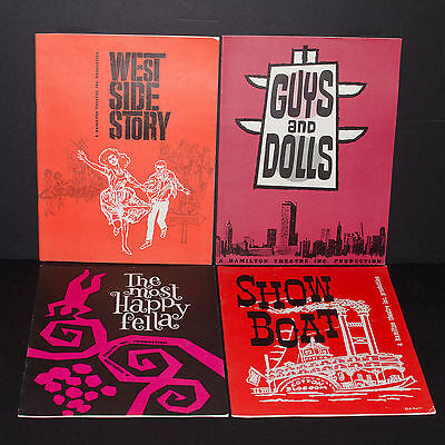 4 1960's Playbills - Guys Dolls ShowboatWest Side Story Hamilton Theatre Inc