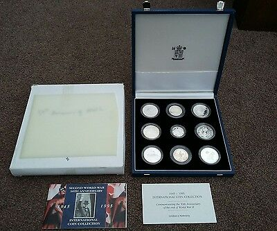 1995 ROYAL MINT BOX SET OF 9 SILVER PROOF COINS + COA 50th ANNI OF WORLD WAR 11