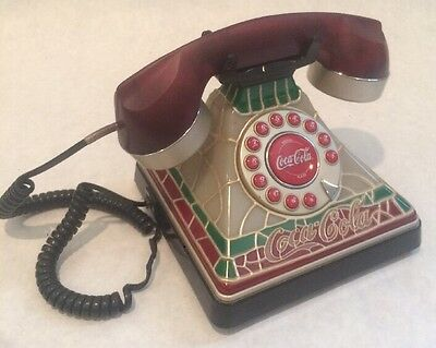 Coca-Cola Old Fashion Stained Glass Design Corded Home Telephone