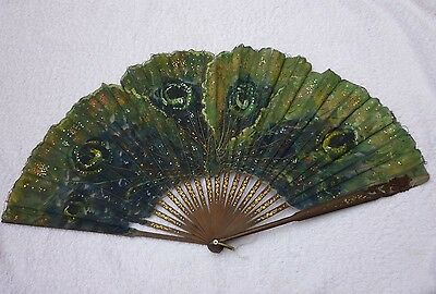 Antique ladies fan.Painted to resemble peacock feather with sequins & embroidary