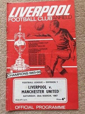 Liverpool v Manchester United football programme. 1966-67