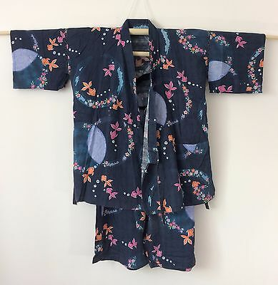 Authentic Japanese jinbei for women, traditional summer wear, used, S-M (G1060)