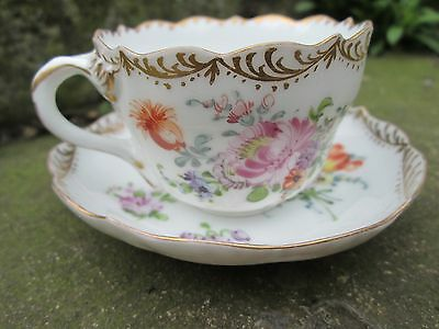 TINY DRESDEN TEA CUP AND SAUCER,DRESDEN CHINA or PORCELAIN CUP & SAUCER