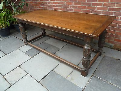 17th C  style Solid carved Oak three plank top refectory dining table seats 8-10