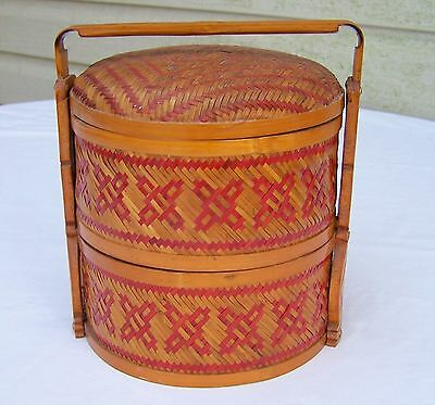 VINTAGE ASIAN / CHINESE WOVEN / RATTAN 2-tier WEDDING / DOWRY BASKET