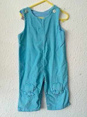 Vintage 1960s Light Blue Cord Deadstock Poodle Dog Unisex Cotton Dungarees 1-2 Y