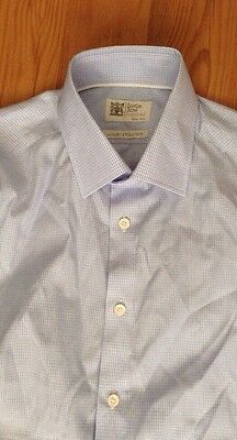 SAVILLE ROW INSPIRED Blue SHIRT M&S Size 15.5 100% Cotton.